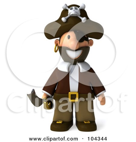 Royalty-Free (RF) Clipart Illustration of a 3d Young Pirate Standing And Facing Front With A Sword by Julos