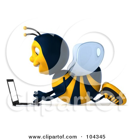 Royalty-Free (RF) Clipart Illustration of a 3d Bee Character Laying On The Floor And Using A Laptop, Facing Left by Julos