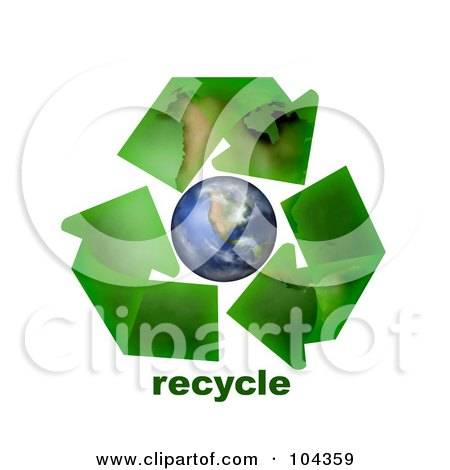 Royalty-Free (RF) Clipart Illustration of 3d Green Geographic Arrows Circling Earth, With Recycle Text by BNP Design Studio