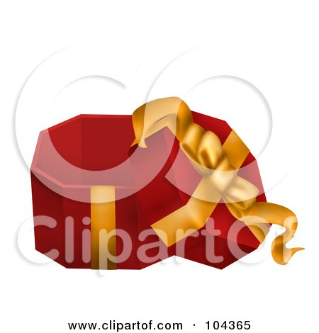 Royalty-Free (RF) Clipart Illustration of a 3d Opened Red Gift Box With A Yellow Ribbon by BNP Design Studio