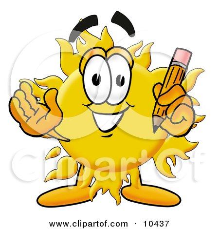 Clipart Picture of a Sun Mascot Cartoon Character Holding a Pencil by Toons4Biz