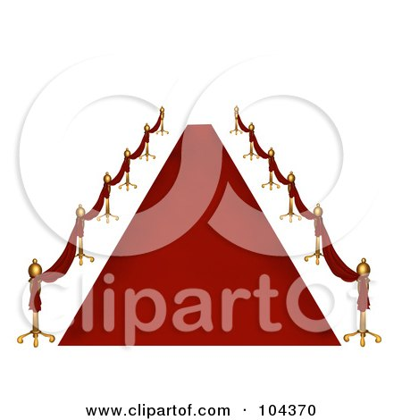 Royalty-Free (RF) Clipart Illustration of a Deserted 3d Red Carpet And Golden Poles by BNP Design Studio