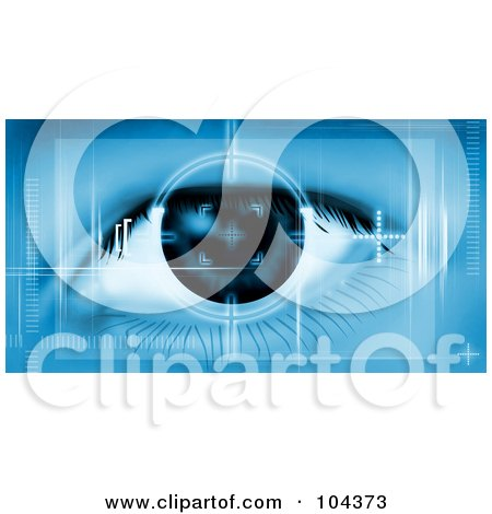 Royalty-Free (RF) Clipart Illustration of a Machine Scanning A Human Eye by BNP Design Studio
