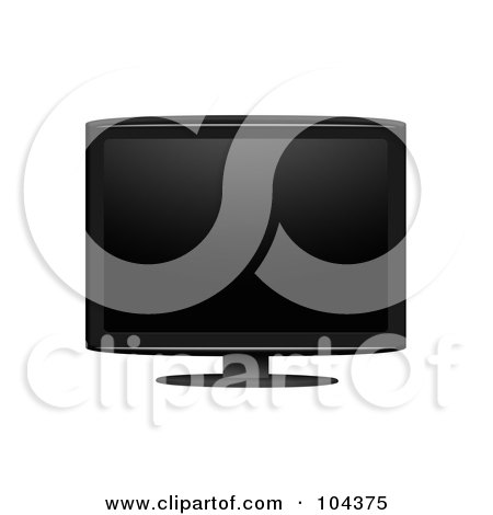 Royalty-Free (RF) Clipart Illustration of a Black LCD Television Screen On A Stand by BNP Design Studio