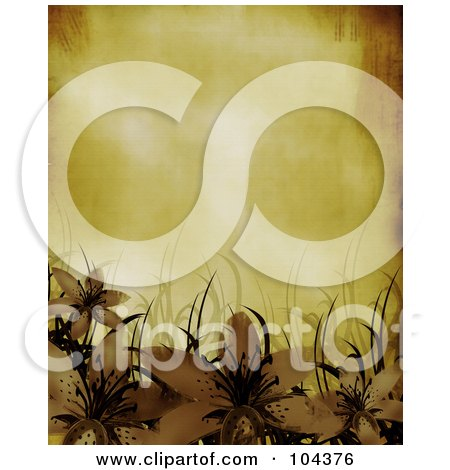 Grungy Sheet Of Parchment Paper And Lilies With Grass Posters, Art Prints