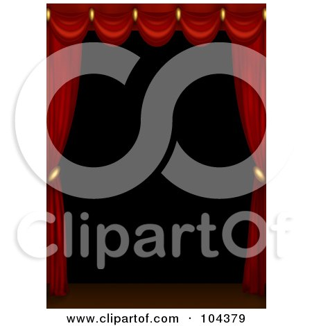 Royalty-Free (RF) Clipart Illustration of 3d Red Curtains Scalloped Across The Top Of A Dark Stage by BNP Design Studio