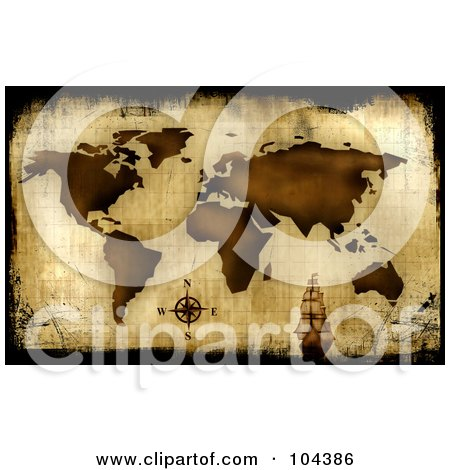 Royalty-Free (RF) Clipart Illustration of a Grungy Aged Antique Map Background With A Ship by BNP Design Studio