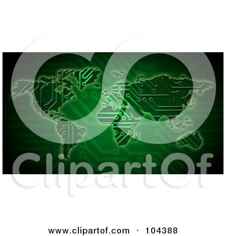 Royalty-Free (RF) Clipart Illustration of a Green Circuit Board Atlas by BNP Design Studio