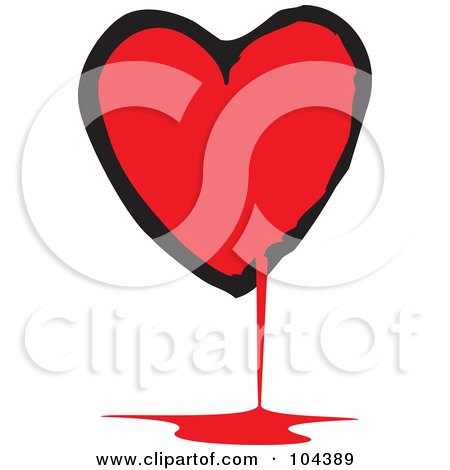 Royalty-Free (RF) Clipart Illustration of a Black And Red Bloody Heart by xunantunich
