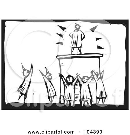 Royalty-Free (RF) Clipart Illustration of a Black And White Woodcut Styled Scene Of People Worshiping A Man by xunantunich