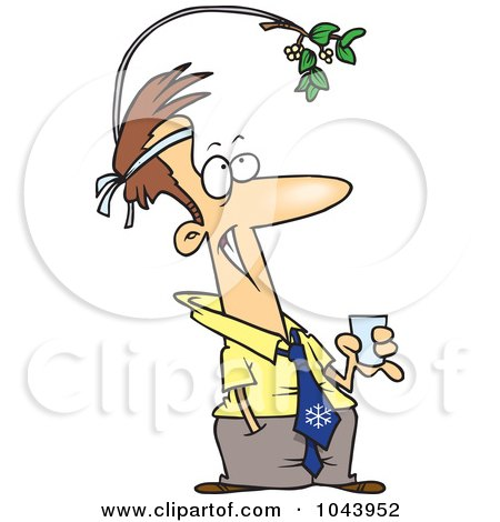 Royalty-Free (RF) Clip Art Illustration of a Cartoon Businessman Wearing Mistletoe At The Office Christmas Party by toonaday