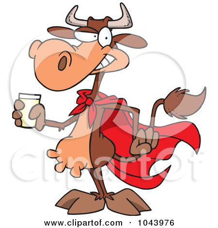 Royalty-Free (RF) Clip Art Illustration of a Cartoon Super Cow Holding A Glass Of Milk by toonaday