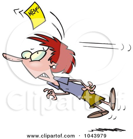 Royalty-Free (RF) Clip Art Illustration of a Cartoon Businesswoman Being Knocked Out With A Memo by toonaday