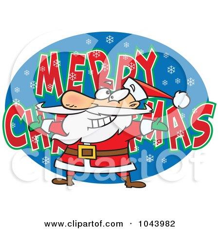 Royalty-Free (RF) Clip Art Illustration of a Cartoon Santa Over MERRY CHRISTMAS by toonaday