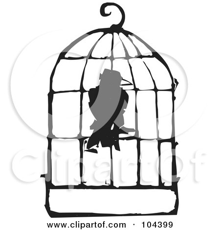 Royalty-Free (RF) Clipart Illustration of a Black And White Woodcut Styled Bird In A Cage by xunantunich