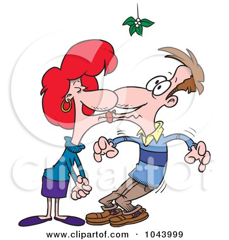 Royalty-Free (RF) Clip Art Illustration of a Cartoon Couple Smooching Under Mistletoe by toonaday