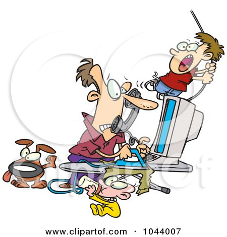 Royalty-Free (RF) Clip Art Illustration of a Cartoon Father Working From Home by toonaday