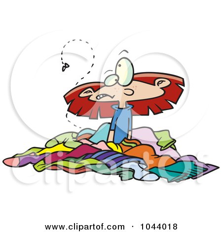 Royalty-free clipart picture of a girl in a pile of
