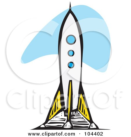 clipart rocket ship. Royalty-free clipart picture of a woodcut styled rocket ship,