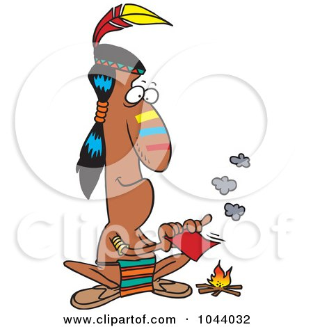 Royalty-Free (RF) Clip Art Illustration of a Cartoon Native American Man Fanning A Fire With A Memo by toonaday