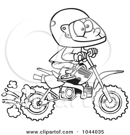 Dirty Tattoos on And White Outline Design Of A Boy Riding A Dirt Bike By Ron Leishman