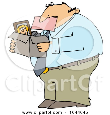 Royalty-Free (RF) Clip Art Illustration of a Fired Businessman Biting A Pink Slip And Carrying A Box Of His Stuff by djart