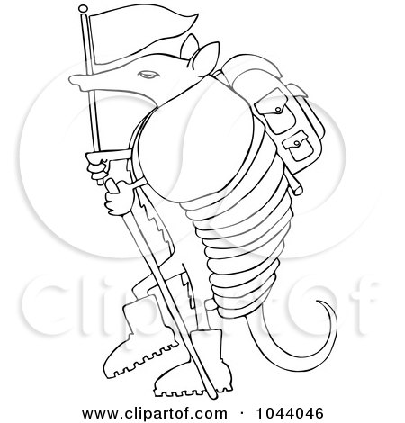 Royalty-Free (RF) Clip Art Illustration of a Hiker Armadillo With A Flag And Stick by djart
