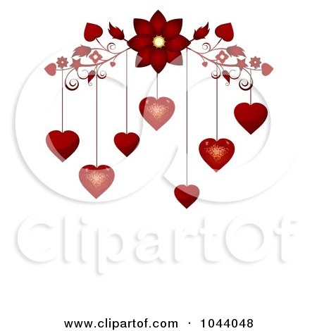 Royalty-Free (RF) Clip Art Illustration of a Red Flourish With Red Valentine Hearts Dangling Above White Space by elaineitalia