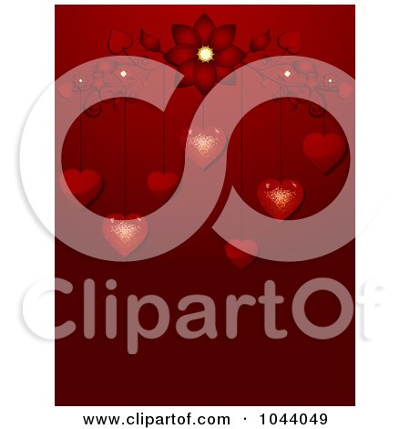 Royalty-Free (RF) Clip Art Illustration of Sparkling Red Valentine Hearts Dangling From A Flourish Over Red by elaineitalia