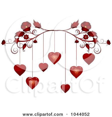 Royalty-Free (RF) Clip Art Illustration of a Red Flourish With Red Valentine Hearts Dangling by elaineitalia