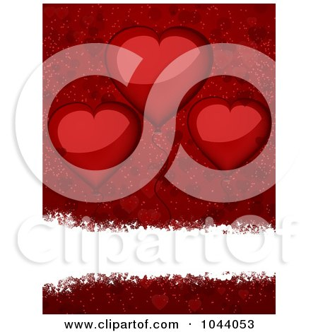 Royalty-Free (RF) Clip Art Illustration of a White Grungy Text Bar Over Red With Shiny Heart Balloons by elaineitalia