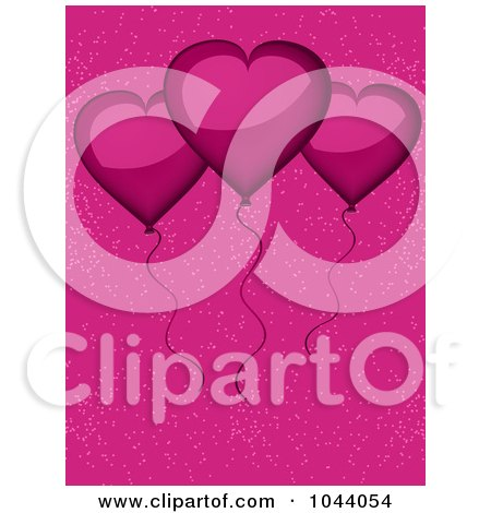 Royalty-Free (RF) Clip Art Illustration of Shiny Pink Heart Balloons Over Pink by elaineitalia