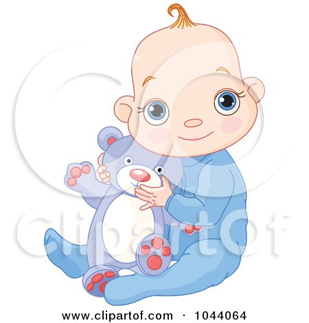 Royalty-Free (RF) Clip Art Illustration of a Baby Boy Holding A Teddy Bear by Pushkin