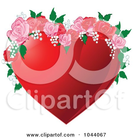 Royalty-Free (RF) Clip Art Illustration of a Red Heart With Pink And Red Roses by Pushkin