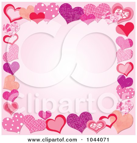Royalty-Free (RF) Clip Art Illustration of a Pink Background Bordered By Patterned Hearts by Pushkin