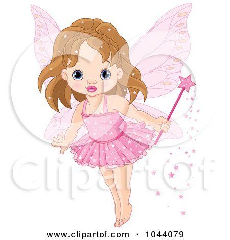 Royalty-Free (RF) Clip Art Illustration of a Cute Fairy Princess In A Pink Tutu by Pushkin