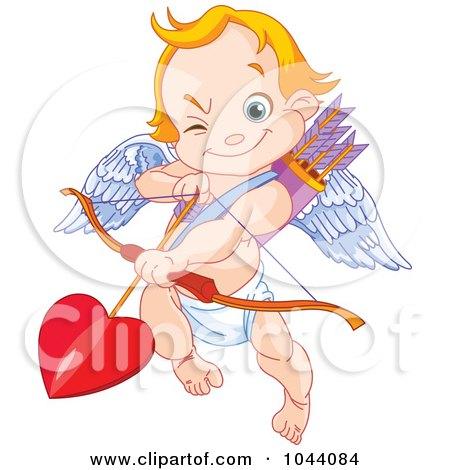 Royalty-Free (RF) Clip Art Illustration of a Cute Cupid Aiming Love's Arrow by Pushkin