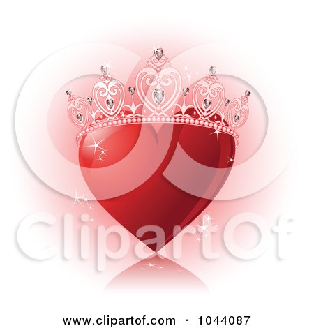 Royalty-Free (RF) Clip Art Illustration of a Sparkly Red Heart With A Princess Crown by Pushkin