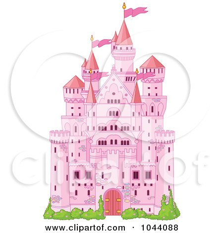 Royalty-Free (RF) Clip Art Illustration of a Pink Fairy Tale Castle by Pushkin