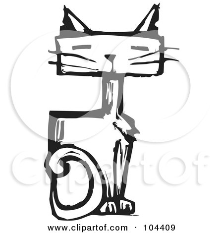 Royalty-Free (RF) Clipart Illustration of a Black And White Woodcut Styled Sitting Cat by xunantunich
