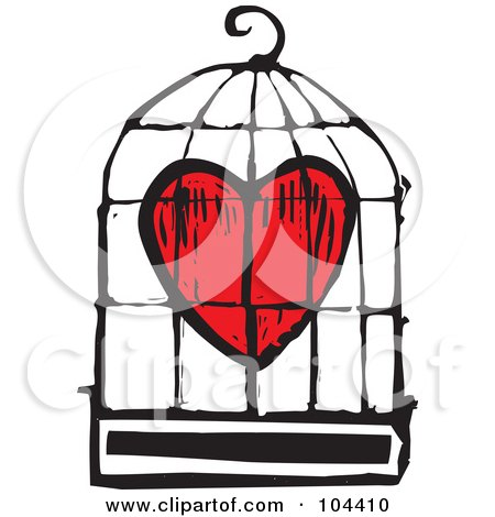 Royalty-Free (RF) Clipart Illustration of a Woodcut Styled Red Heart In A Bird Cage by xunantunich
