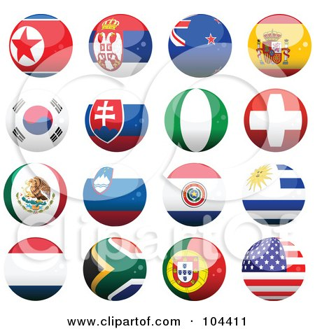 Royalty-Free (RF) Clipart Illustration of a Digital Collage Of 16 Shiny Soccer World Cup Orbs, Part 2 by elaineitalia