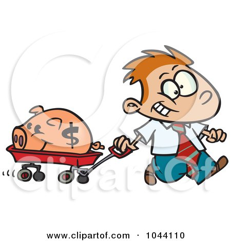 Royalty-Free (RF) Clip Art Illustration of a Cartoon Rich Boy Pulling His Piggy Bank In A Wagon by toonaday