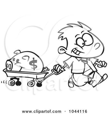 Royalty-Free (RF) Clip Art Illustration of a Cartoon Black And White Outline Design Of A Rich Boy Pulling His Piggy Bank In A Wagon by toonaday