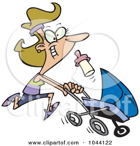 Cartoon Mother Running With A Pram Posters, Art Prints