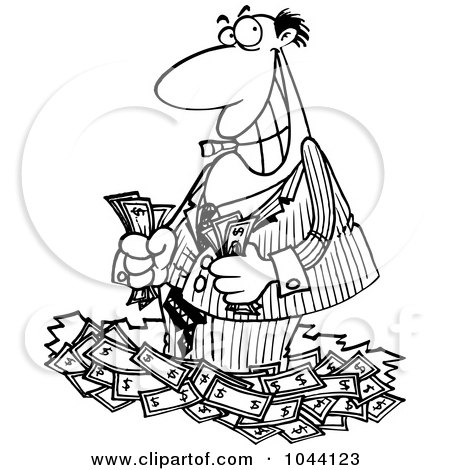 Royalty-Free (RF) Clip Art Illustration of a Cartoon Black And White Outline Design Of A Rich Businessman Standing In Cash by toonaday