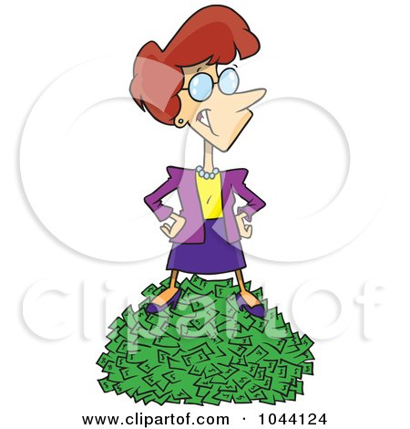 Royalty-Free (RF) Clip Art Illustration of a Cartoon Rich Businesswoman Standing On Cash by toonaday