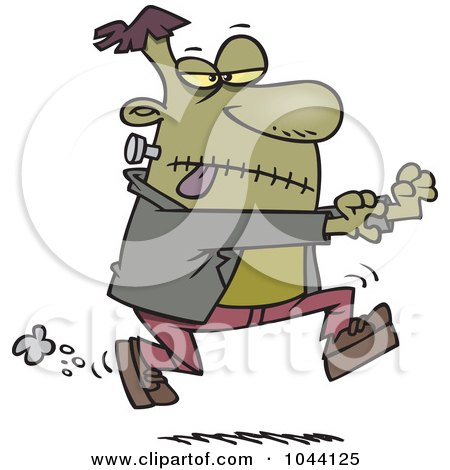 Royalty-Free (RF) Clip Art Illustration of a Cartoon Frankenstein Chasing by toonaday
