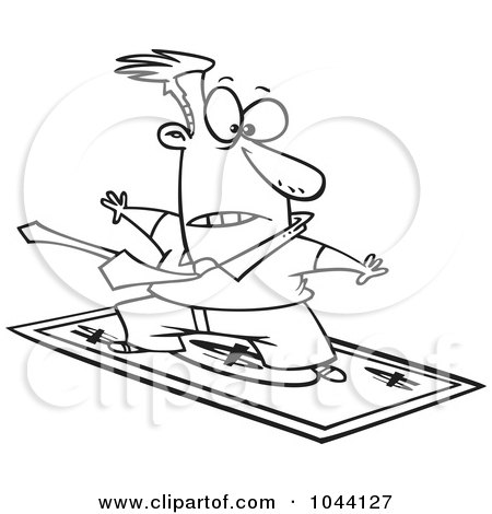 Royalty-Free (RF) Clip Art Illustration of a Cartoon Black And White Outline Design Of A Rich Businessman Surfing On A Dollar Bill by toonaday