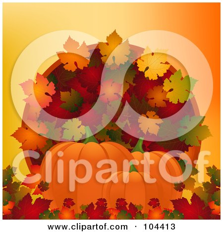 Royalty-Free (RF) Clipart Illustration of Three Pumpkins With Colorful Autumn Leaves Over Orange by elaineitalia